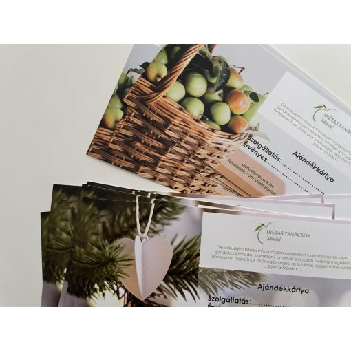 Ajándékkártya - 1 alkalmas online dietetikai konzultáció